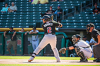 Cristhian Adames (2) of the Albuquerque Isotopes at bat against the Salt Lake Bees in Pacific Coast League action at Smith's Ballpark on June 8, 2015 in Salt Lake City, Utah.  (Stephen Smith/Four Seam Images)