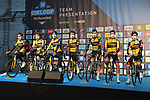 Team Jumbo-Visma at sign on before the start of the 76th edition of Omloop Het Nieuwsblad 2021 running 200km from Gent to Ninove, Belgium. 27th February 2021  <br /> Picture: Serge Waldbillig | Cyclefile<br /> <br /> All photos usage must carry mandatory copyright credit (© Cyclefile | Serge Waldbillig)