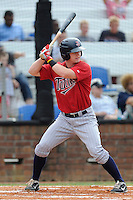 Center fielder Austin Diemer (11) of the Elizabethton Twins bats in a game against the Johnson City Cardinals on Sunday, July 27, 2014, at Howard Johnson Field at Cardinal Park in Johnson City, Tennessee. The game was suspended due to weather in the fifth inning. (Tom Priddy/Four Seam Images)