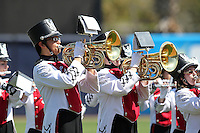 USF Bulls band performing before a scrimmage against the New York Yankees at Steinbrenner Field on March 2, 2012 in Tampa, Florida.  New York defeated South Florida 11-0.  (Mike Janes/Four Seam Images)