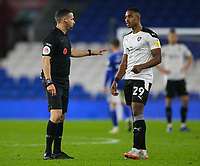 3rd November 2020; Cardiff City Stadium, Cardiff, Glamorgan, Wales; English Football League Championship Football, Cardiff City versus Barnsley;  Referee Dean Whitestone speaks with Victor Adeboyejo of Barnsley after a late challenge