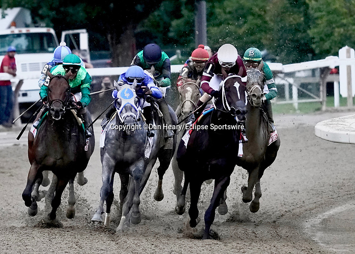 August 28, 2021: The field enters the stretch for the Grade 1 Travers at Saratoga Race Course in Saratoga Springs, N.Y. on August 28th, 2021. Dan Heary/Eclipse Sportswire/CSM