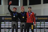 SPEEDSKATING: Salt Lake City, 14-02-2020, ISU World Single Distances Championships, Podium 10.000m Men, Ted-Jan Bloemen (CAN), Graeme Fish (CAN), Patrick Beckert (GER), ©foto Martin de Jong