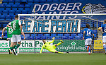 St Johnstone v Hibs……23.08.20   McDiarmid Park  SPFL<br />Elliott Partish is beaten from the spot by Stevie Mallan<br />Picture by Graeme Hart.<br />Copyright Perthshire Picture Agency<br />Tel: 01738 623350  Mobile: 07990 594431