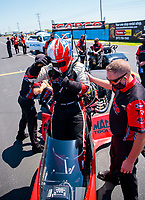 Aug 8, 2020; Clermont, Indiana, USA; NHRA top fuel driver Steve Torrence during qualifying for the Indy Nationals at Lucas Oil Raceway. Mandatory Credit: Mark J. Rebilas-USA TODAY Sports