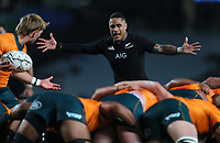 NZ's Aaron Smith during the Bledisloe Cup rugby match between the New Zealand All Blacks and Australia Wallabies at Eden Park in Auckland, New Zealand on Saturday, 14 August 2021. Photo: Simon Watts / lintottphoto.co.nz / bwmedia.co.nz
