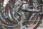Campagnolo electronic drivetrain on Lotto Belisol Team's Ridley bikes on the car rack before the start of the 98th edition of Liege-Bastogne-Liege outside the Palais des Princes-Eveques, running 257.5km from Liege to Ans, Belgium. 22nd April 2012.  <br /> (Photo by Eoin Clarke/NEWSFILE).
