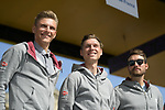 Marcel Kittel, Tony Martin and Rick Zabel (GER) Team Katusha-Alpecin on stage at the team presentation before the 116th edition of Paris-Roubaix 2018. 7th April 2018.<br /> Picture: ASO/Pauline Ballet | Cyclefile<br /> <br /> <br /> All photos usage must carry mandatory copyright credit (© Cyclefile | ASO/Pauline Ballet)