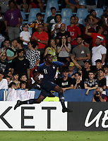 Football: Uefa under 21 Championship 2019, England - France, Dino Manuzzi stadium Cesena Italy on June18, 2019.<br /> France's Jean-Philippe Mateta celebrates after England scored an own goal during the Uefa under 21 Championship 2019 football match between England and France at Dino Manuzzi stadium in Cesena, Italy on June18, 2019.<br /> UPDATE IMAGES PRESS/Isabella Bonotto