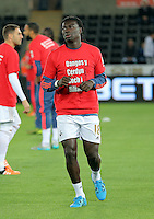 """Bafetimbi Gomis of Swansea warms up wearing a """"Show Racism the Red Card"""" shirt before the Barclays Premier League match between Swansea City and Stoke City played at the Liberty Stadium, Swansea on October 19th 2015"""