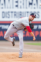 Pawtucket Red Sox starting pitcher Matt Barnes (34) warms up in the bullpen prior to the game against the Charlotte Knights at BB&T Ballpark on August 9, 2014 in Charlotte, North Carolina.  The Red Sox defeated the Knights  5-2.  (Brian Westerholt/Four Seam Images)