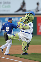 Rancho Cucamonga Quakes mascot Tremor during a game against the Lake Elsinore Storm at LoanMart Field on April 14, 2014 in Rancho Cucamonga, California. Lake Elsinore defeated Rancho Cucamonga, 5-0. (Larry Goren/Four Seam Images)