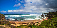Deserted Bathsheba Beach with rocks in the turquoise water, lush vegetation, golden sand, and a blue sky with dramatic clouds, in Barbados Island