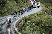 group with yellow jersey Tadej Pogacar (SVN/UAE-Emirates) up the Cormet de Roselend<br /> <br /> Stage 9 from Cluses to Tignes (144.9km)<br /> 108th Tour de France 2021 (2.UWT)<br /> <br /> ©kramon