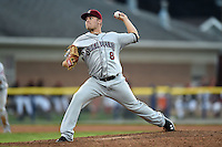 Mahoning Valley Scrappers pitcher Sean Brady (8) delivers a pitch during a game against the Batavia Muckdogs on August 22, 2014 at Dwyer Stadium in Batavia, New York.  Mahoning Valley defeated Batavia 2-1.  (Mike Janes/Four Seam Images)