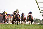 September 11, 2021: Gear Jockey #4, ridden by jockey Jose Lezcano to win the Grade 3 FanDuel Turf Sprint Stakes on the turf at Kentucky Downs Racecourse in Franklin, K.Y. on September 11th, 2021. (Equisport Photos/For Editorial Use Only)