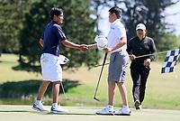 Joshua Bai (R) defeats top seed Kazuma Kabori during the New Zealand Amateur Golf Championship, Poverty Bay Golf Course, Awapuni Links, Gisborne, Friday 23 October 2020. Photo: Simon Watts/www.bwmedia.co.nz