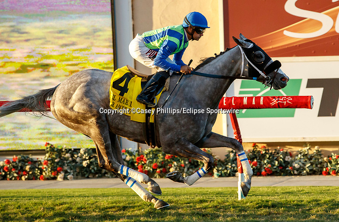 DEL MAR, CA  SEPTEMBER 4: #4 None Above the Law, ridden by Joe Bravo, wins the Del Mar Derby (Grade ll) on September 4, 2021, with Del Mar Thoroughbred Club in Del Mar, CA.  (Photo by Casey Phillips/Eclipse Sportswire/CSM)