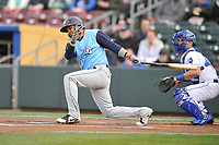 Colorado Springs Sky Sox third baseman Andres Blanco (18) swings at a pitch against the Omaha Storm Chasers at Werner Park on April 5, 2018 in Omaha, Nebraska. The Sky Sox won 3-1.  (Dennis Hubbard/Four Seam Images)