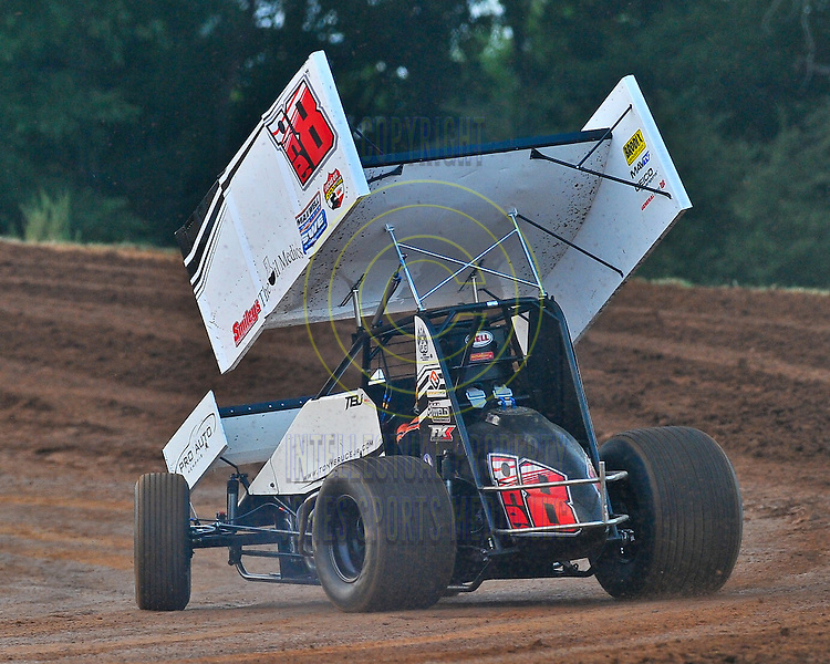 Tony Bruce Jr, of Owasso, OK, won the 25 lap preliminary feature race with the American Sprint Car Series Friday night at  I-30 Speedway in Little Rock...Special to the Democrat-Gazette/JIMMY JONES