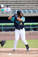 First baseman Miguel Jerez (38) of the Lynchburg Hillcats in a game against the Delmarva Shorebirds on Wednesday, August 11, 2021, at Bank of the James Stadium in Lynchburg, Virginia. (Tom Priddy/Four Seam Images)
