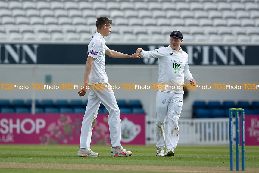 Scott Currie, Hampshire CCC is congratulated following the wicket of Ollie Pope during Surrey CCC vs Hampshire CCC, LV Insurance County Championship Group 2 Cricket at the Kia Oval on 30th April 2021