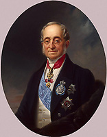 Portrait of Count Karl Robert Nesselrode (1780-1862)<br /> Artist:Krüger, Franz(1797-1857)<br /> Museum:State Hermitage, St. Petersburg<br /> Method:Oil on canvas<br /> Created:1840s<br /> School:Germany<br /> Trend in art:German Painting of 19th cen.