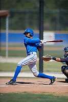 Toronto Blue Jays left fielder Edward Olivares (3) follows through on a swing during a minor league Spring Training game against the New York Yankees on March 30, 2017 at the Englebert Complex in Dunedin, Florida.  (Mike Janes/Four Seam Images)