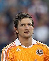 Houston Dynamo defender Bobby Boswell (32). In a Major League Soccer (MLS) match, the New England Revolution tied Houston Dynamo, 2-2, at Gillette Stadium on May 19, 2012.