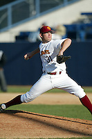 New York Yankees first round draft pick in 2006 Ian Kennedy of the USC Trojans pitches in a NCAA baseball game at Dedeaux Field during the 2004 season in Los Angeles, California. (Larry Goren/Four Seam Images)