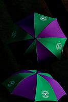 3rd July 2021; Wimbledon, SW London. England; Wimbledon Tennis Championships, day 6; The 2021 Wimbledon Championships umbrellas on display