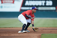Piedmont Boll Weevils shortstop Lenyn Sosa (2) waits for a throw at second base during the game against the Greensboro Grasshoppers at Kannapolis Intimidators Stadium on June 16, 2019 in Kannapolis, North Carolina. The Grasshoppers defeated the Boll Weevils 5-2. (Brian Westerholt/Four Seam Images)