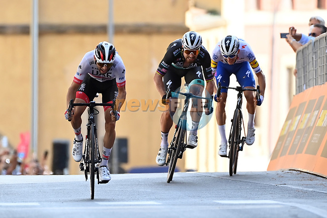 Diego Ulissi (ITA) UAE Team Emirates outsprints Peter Sagan (SVK) Bora-Hansgrohe and Mikkel Frølich Honoré (DEN) Deceuninck-Quick Step to win Stage 2 of the 103rd edition of the Giro d'Italia 2020 running 149km from Alcamo to Agrigento, Sicily, Italy. 4th October 2020.  <br /> Picture: LaPresse/Gian Mattia D'Alberto | Cyclefile<br /> <br /> All photos usage must carry mandatory copyright credit (© Cyclefile | LaPresse/Gian Mattia D'Alberto)