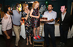 """Kareem M. Lucas, Matt Harrington, Kate MacCluggage, Charlotte Wise, Jason O'Connell and Craig Wesley Divino attend the Birthday Party Photo Call for the Wheelhouse Theater Company production of Kurt Vonnegut's """"Happy Birthday, Wanda June""""  on October 3, 2018 at Bond 45 Times Square in New York City."""