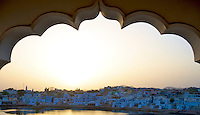 Pushkar is a town in the Ajmer district in the Indian state of Rajasthan. It is situated about 10 km northwest of Ajmer and about 150 kilometres (93 mi) southwest of Jaipur. <br />