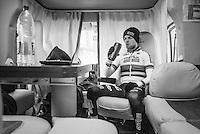 Eli Yserbyt (BEL/U23/Marlux-Napoleon Games) back in his camper post-race<br /> <br /> 2016 CX UCI World Cup Zeven (DEU)