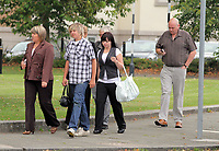 Pictured: The mother of Joshua Davies Hayley (L), his father Steven (R) with relatives and friends arriving at Swansea Crown Court. Friday 02 September 2011<br />