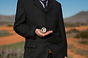 Spain - Andalusia - Manuel Hernández Montoya, a 61-year-old former actor who played in several spaghetti western movies in his childhood is holding a copy of a watch used in A Few Dollars More.