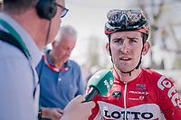 Tiesj Benoot (BEL/Lotto-Soudal) interviewed after finishing<br /> <br /> 82nd Flèche Wallonne 2018 (1.UWT)<br /> 1 Day Race: Seraing - Huy (198km)