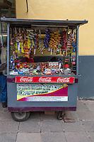 Peru, Cusco.  Sidewalk Snack Stand, Avenida del Sol.