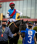 MAY 15, 2021:  Medina Spirit and John Velazquez before the Preakness Stakes at Pimlico Racecourse in Baltimore, Maryland on May 15, 2021. EversEclipse Sportswire/CSM