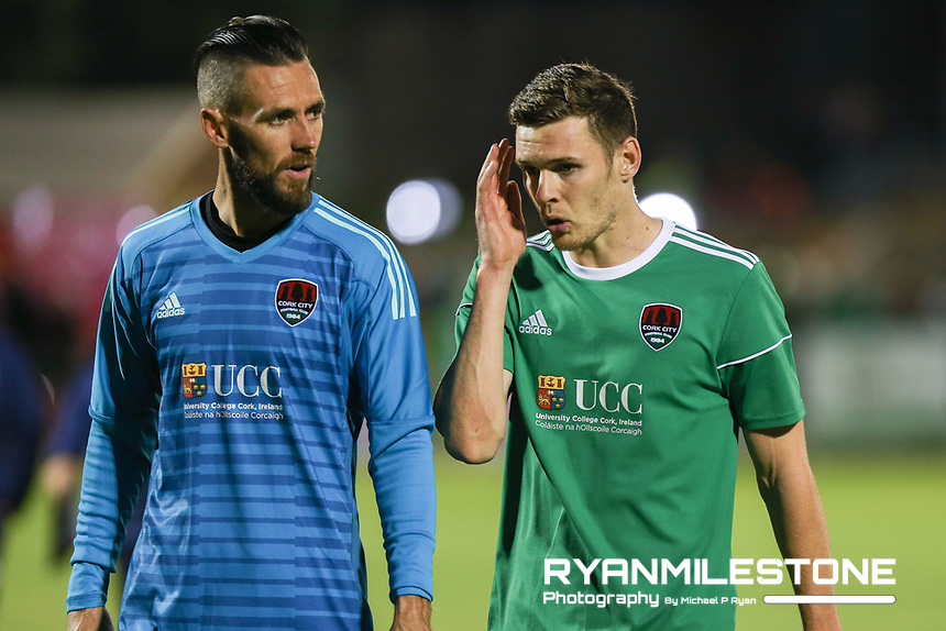 Mark McNulty and Garry Buckley of Cork City at the end of the UEFA Europa League Third Qualifying Round First Leg game between Cork City and Rosenborg, on Thursday 9th August 2018, at Turners Cross, Cork. Photo By: Michael P Ryan.
