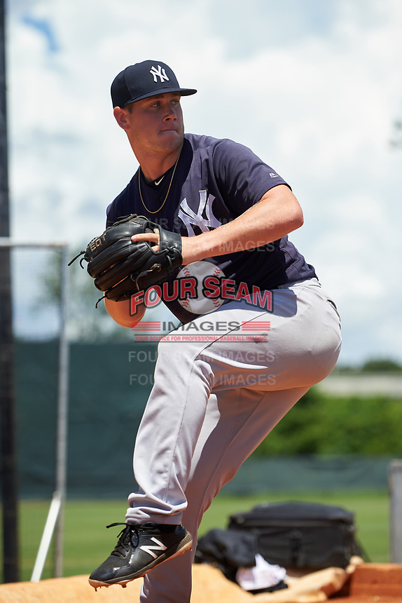 GCL Yankees East pitcher Zach Greene (13) in the bullpen during a Gulf Coast League game against the GCL Phillies West on August 3, 2019 at the Carpenter Complex in Clearwater, Florida.  The GCL Phillies West defeated the GCL Yankees East 15-7 in a completion of a game that was originally started on July 26, 2019.  (Mike Janes/Four Seam Images)
