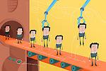 Illustrative image of candidates on conveyor belt representing employee selection