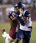 Florida State defensive back Kyle Meyers attempts to defend against a 55 yard pass to Samford wide receiver Andres Harris during an NCAA college football game in Tallahassee, Fla.,Saturday, Sept. 8, 2018.  Florida State defeated Samford 36 to 26.