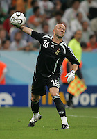 French goalkeeper (16) Fabien Barthez throws out the ball.  France defeated Portugal, 1-0, in their FIFA World Cup semifinal match at FIFA World Cup Stadium in Munich, Germany, July 5, 2006.
