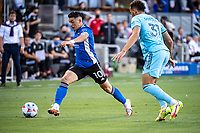 SAN JOSE, CA - AUGUST 17: Cristian Espinoza #10 of the San Jose Earthquakes dribbles the ball during a game between San Jose Earthquakes and Minnesota United FC at PayPal Park on August 17, 2021 in San Jose, California.