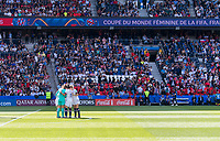 PARIS,  - JUNE 16: The USWNT huddles at the start of the match during a game between Chile and USWNT at Parc des Princes on June 16, 2019 in Paris, France.