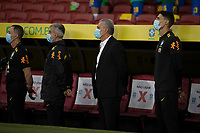 4th June 2021; Beira-Rio Stadium, Porto Alegre, Brazil; Qatar 2022 qualifiers; Brazil versus Ecuador; Brazil manager Tite and his assiatants stand for the anthems