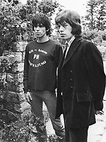 Keith Richards and Mick Jagger exclusive image from 1967 by David Cole in the gardens at Redlands, Richards' Sussex home.